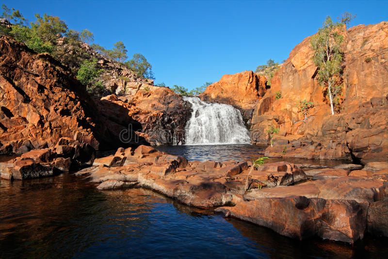 Waterfall, Kakadu NP. Small waterfall and pool with clear water, Kakadu National Park, Northern Territory, Australia royalty free stock photos