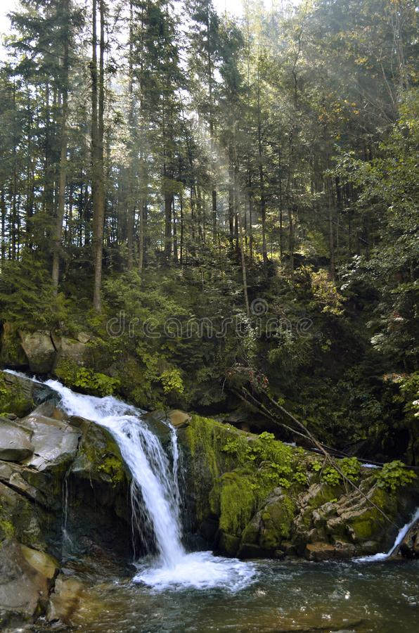 Waterfall Kamianka on a mountain river covered with moss in the forest in the sun stock photography