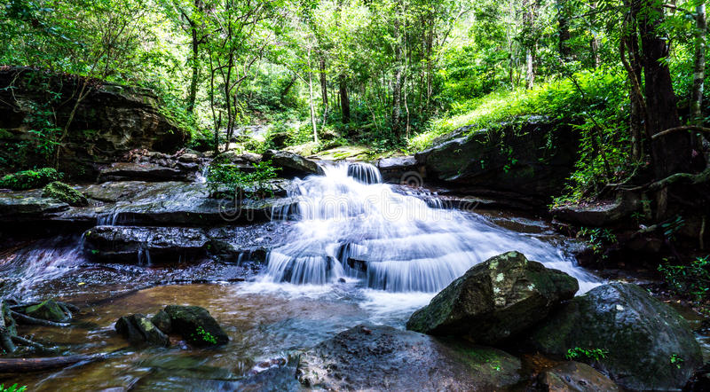 Waterfall, Khum Som Waterfall, Muang District, Sakon Nakhon, Thailand.  royalty free stock photos