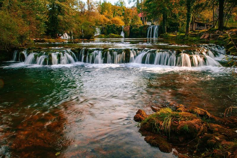 Waterfall on Korana river canyon in village of Rastoke. Slunj in Croatia royalty free stock images