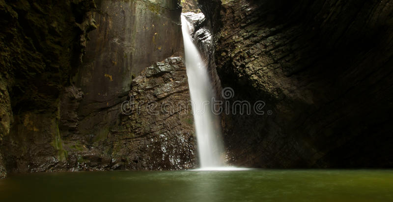 Waterfall Kozjak. One of Slovenia's most picturesque waterfalls, the Veliki Kozjak, was created in the outlet of the lower Korita of the Kozjak Brook stock image