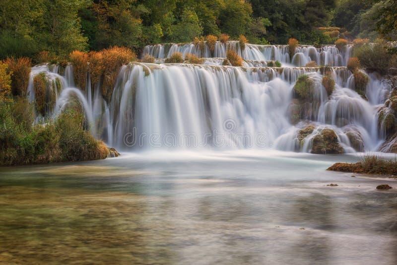 Krka National Park, beautiful nature landscape, view of the waterfall Skradinski buk, Croatia. Waterfall in Krka National Park, famous Skradinski buk, one of the stock photo