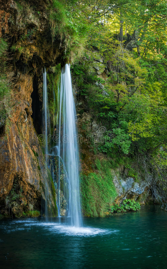 Waterfall and Lake in Plitvice, beautiful place in Croatia royalty free stock images