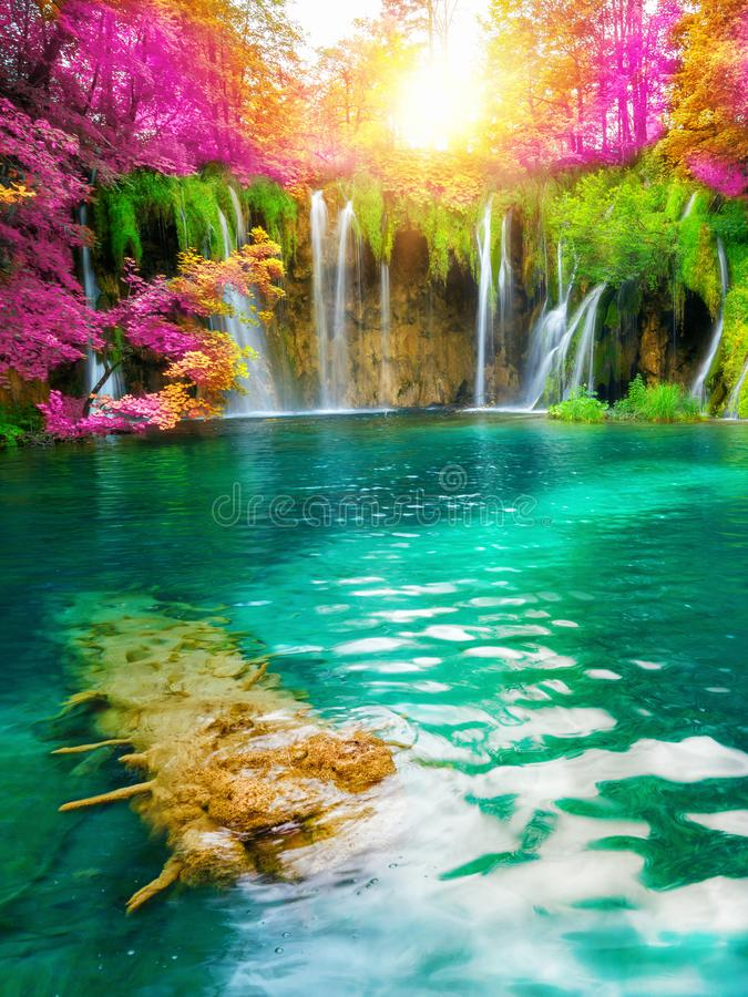 Waterfall landscape of Plitvice Lakes Croatia. Exotic waterfall and lake landscape of Plitvice Lakes National Park, UNESCO natural world heritage and famous royalty free stock photos