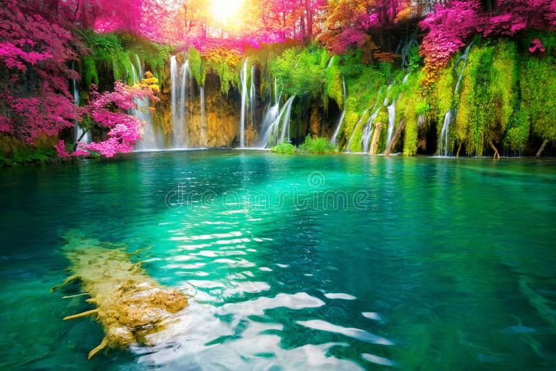 Waterfall landscape of Plitvice Lakes Croatia. Exotic waterfall and lake landscape of Plitvice Lakes National Park, UNESCO natural world heritage and famous stock image