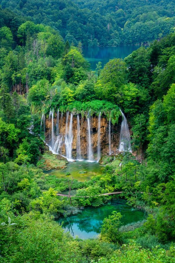 Waterfall landscape of Plitvice Lakes Croatia. Exotic waterfall and lake landscape of Plitvice Lakes National Park, UNESCO natural world heritage and famous stock images
