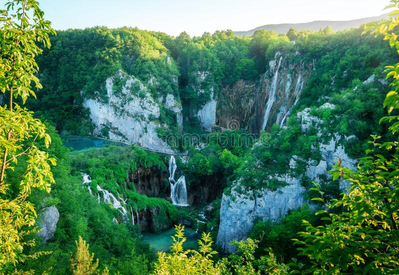 Waterfall landscape of Plitvice Lakes Croatia. Exotic waterfall and lake landscape of Plitvice Lakes National Park, UNESCO natural world heritage and famous stock photography