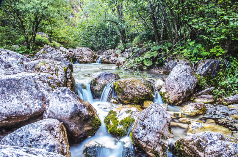 Waterfall Landscape. River in Mountain stock photography