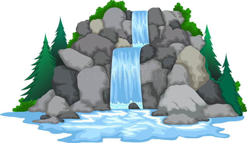 Waterfall with landscape view background royalty free illustration