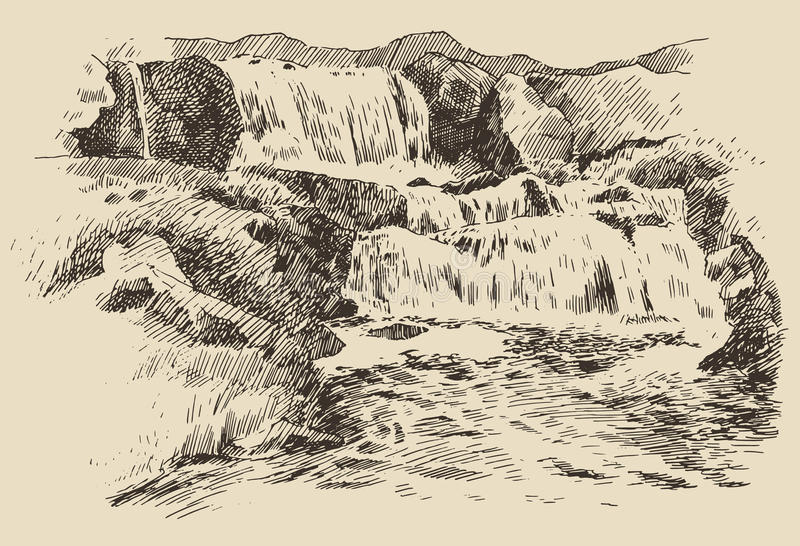 Waterfall landscape vintage engraving illustration. Waterfalls landscape vintage engraving illustration of beautiful waterfalls hand drawn stock illustration