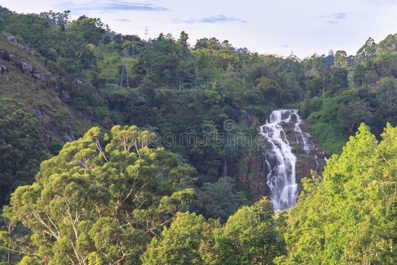 Waterfall in Ella - Sri lanka. The Waterfall in left side, when you walk on railway from Ella to Nine Arches Bridge royalty free stock photo
