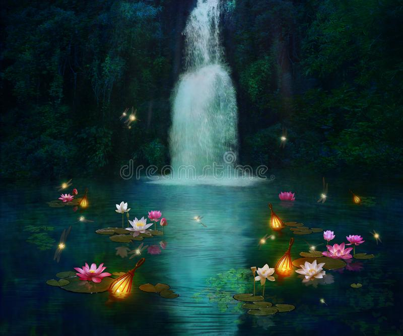 Waterfall and lilies stock illustration