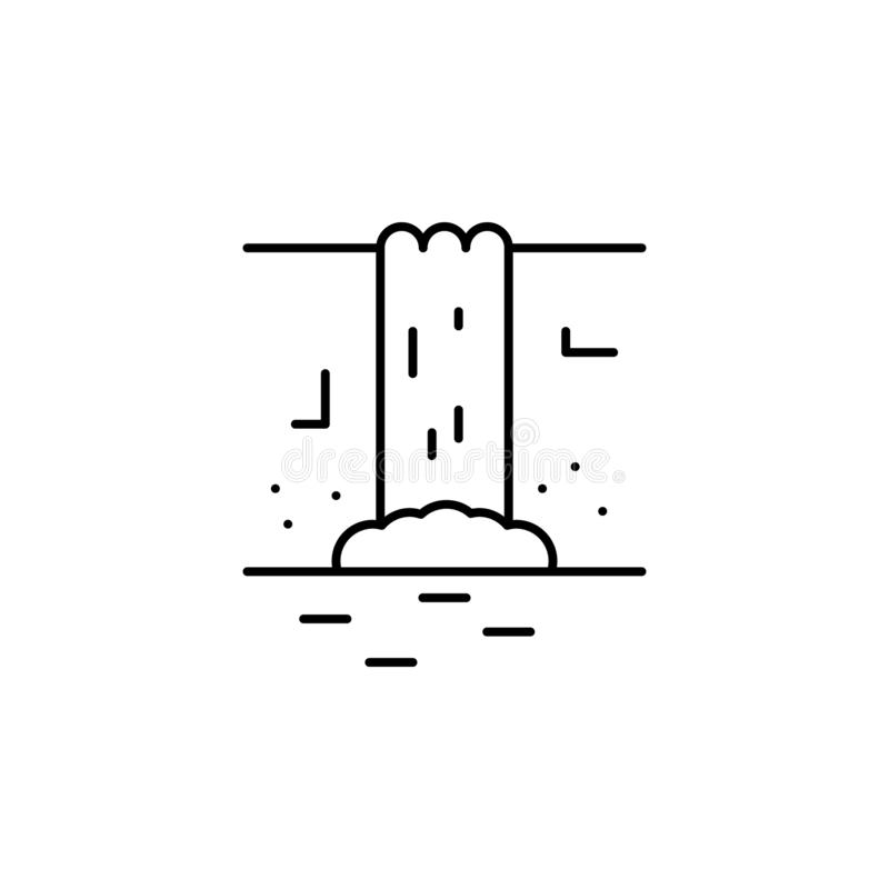 Waterfall line icon. Element of jungle for mobile concept and web apps illustrat. Ion. Thin line icon on white background vector illustration