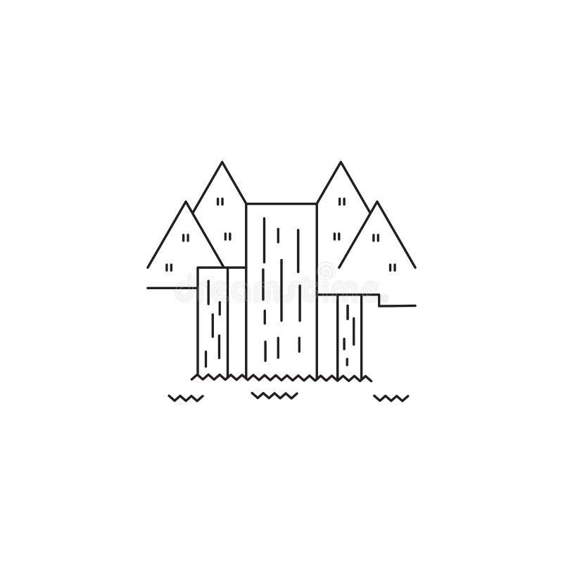 Waterfall line icon stock illustration