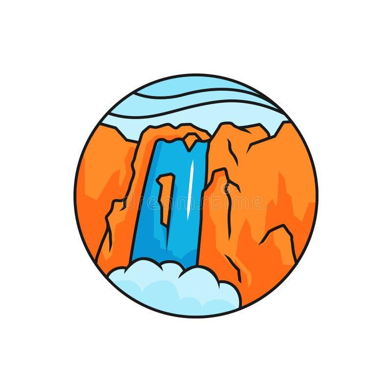 Waterfall logo badge. High mountain rock waterfall panorama illustration with circle frame. royalty free illustration