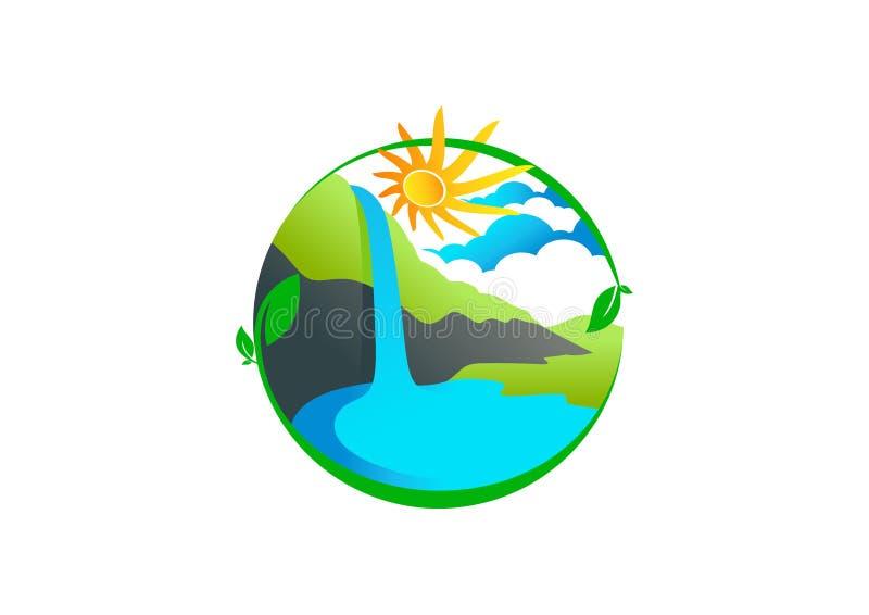 Waterfall logo vector illustration