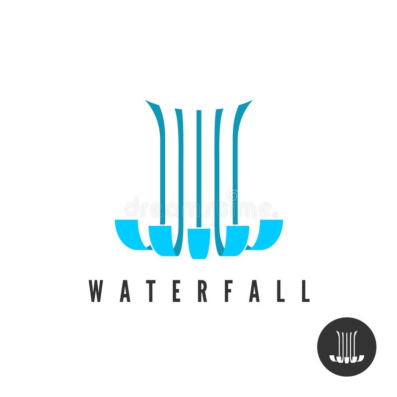 Waterfall logo. Parallel lines water wloods falling. royalty free illustration