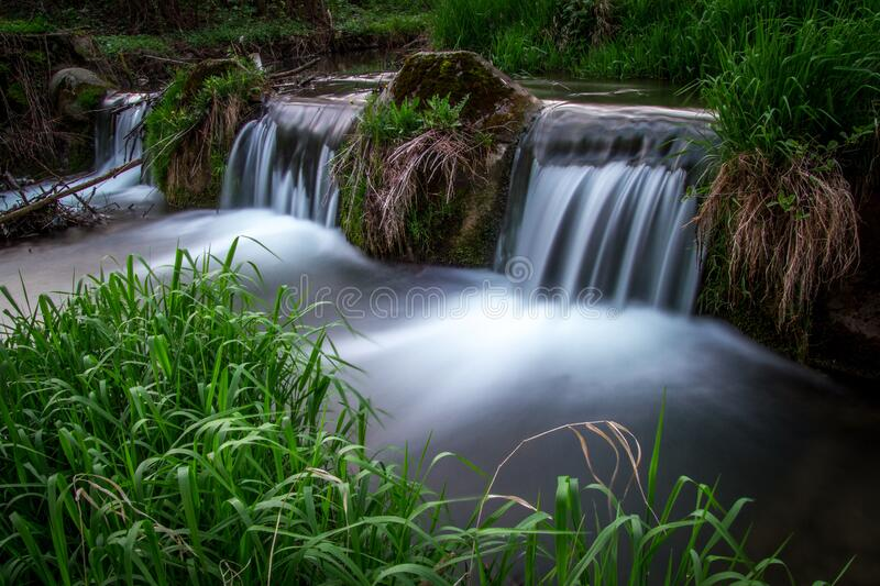 Waterfall long exposure photo, Krzeszowice, Poland royalty free stock images