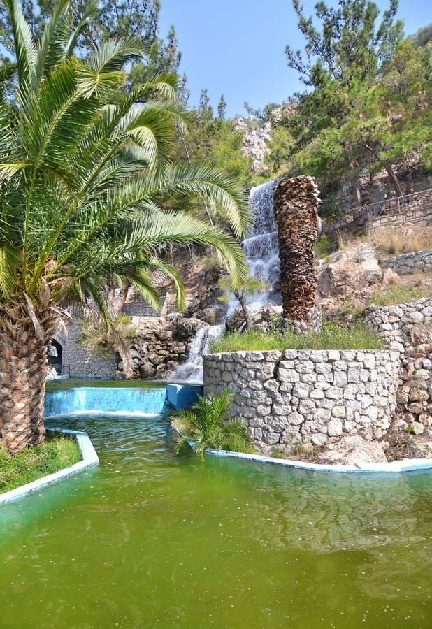 Waterfall at Loutraki Greece stock photo