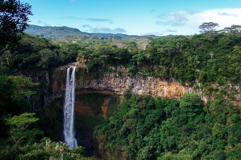 Waterfall in Mauritius stock photo