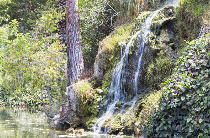 Waterfall in the meditation Garden in Santa Monica, United States. Park of five religions at the lake Shrine, landscape royalty free stock photos