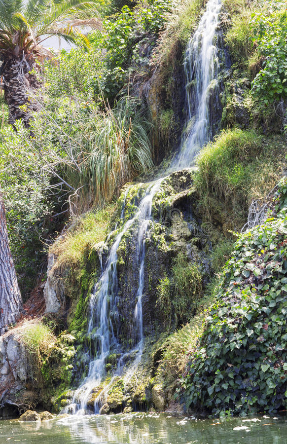 Waterfall in the meditation Garden in Santa Monica, United States. Park of five religions at the lake Shrine, landscape stock images