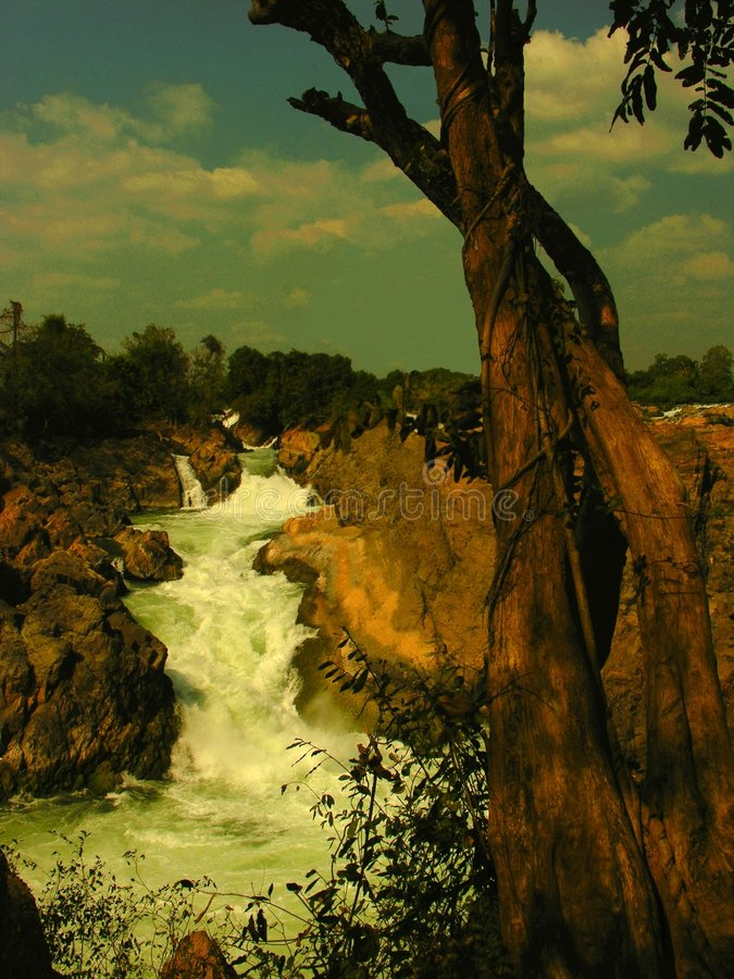 WATERFALL ON MEKONG stock photos