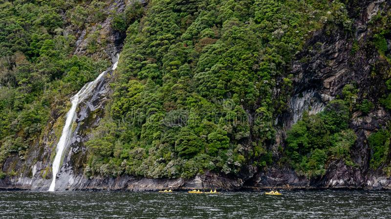 Waterfall, Milford Sound Fjord, New Zealand stock photos