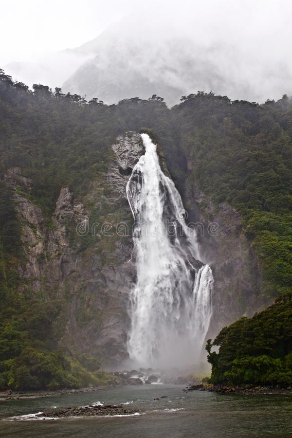 Waterfall-Milford Sound, Water Cruise royalty free stock photo