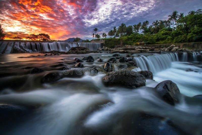 Waterfall. Mini waterfall from west sumatera royalty free stock image