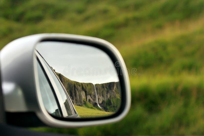 Waterfall in mirror stock image