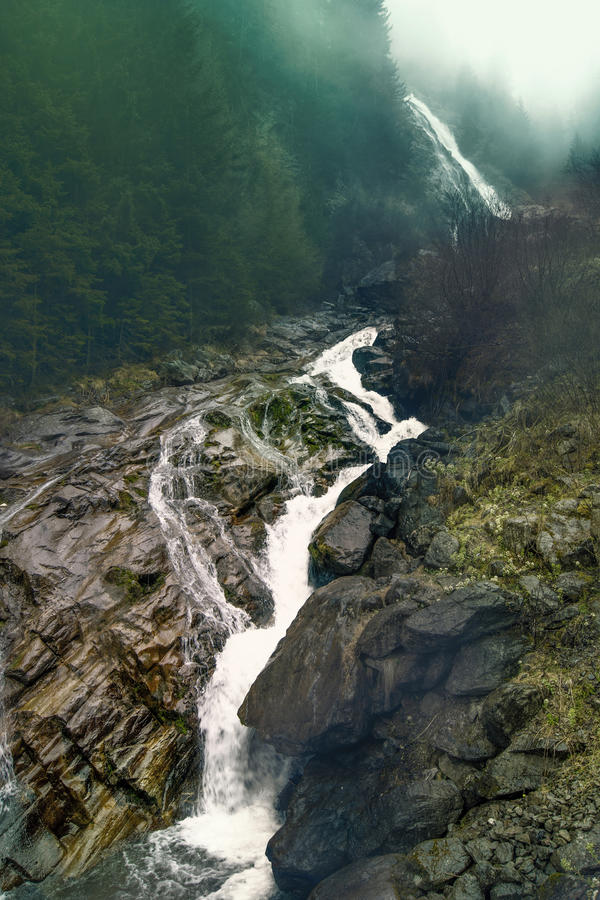 Waterfall Mist Flow From Green Forests High Hill Stock ...
