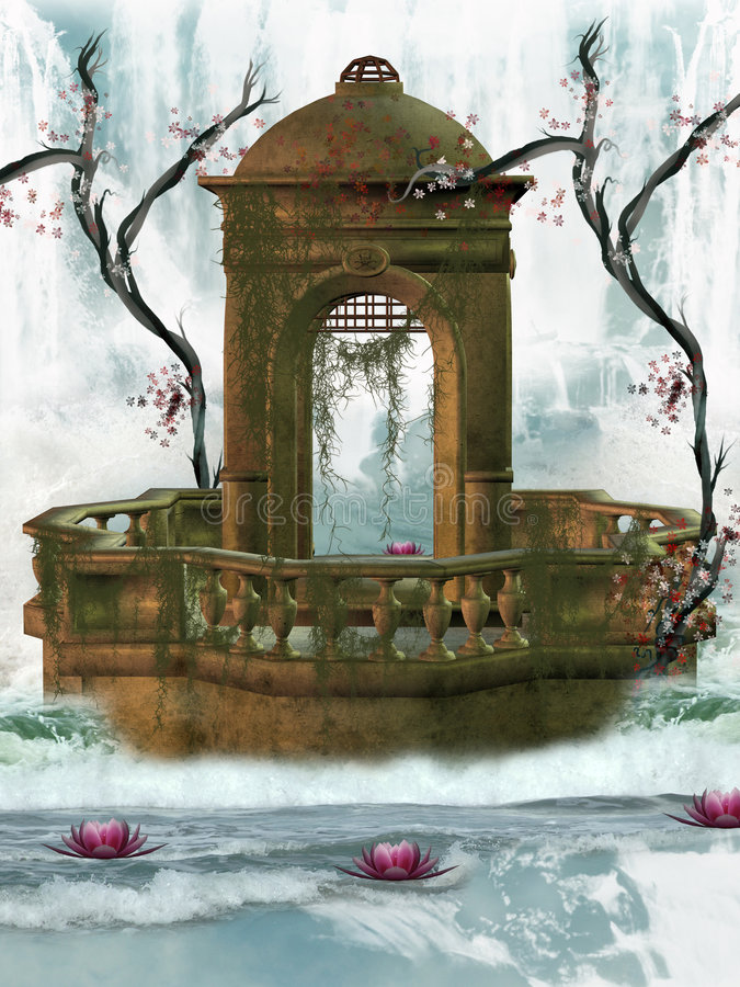 Waterfall monument royalty free illustration