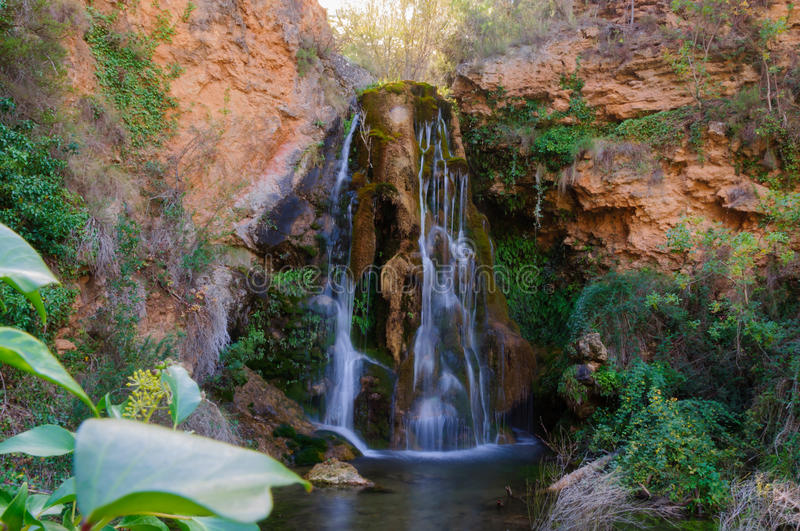 Waterfall. In the mountain stock photography