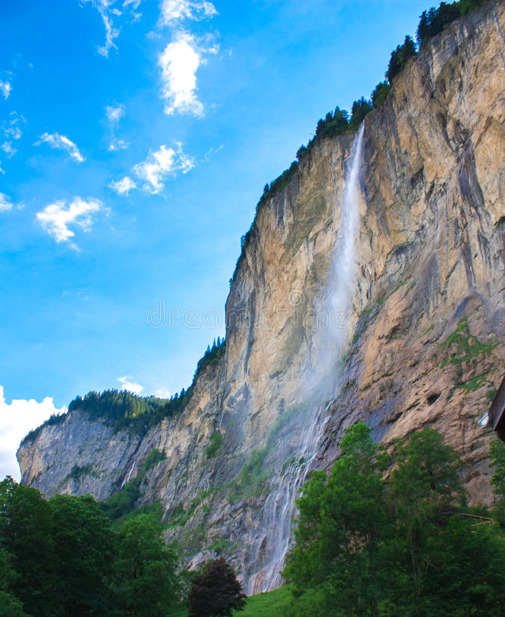 Waterfall in the mountain royalty free stock photos