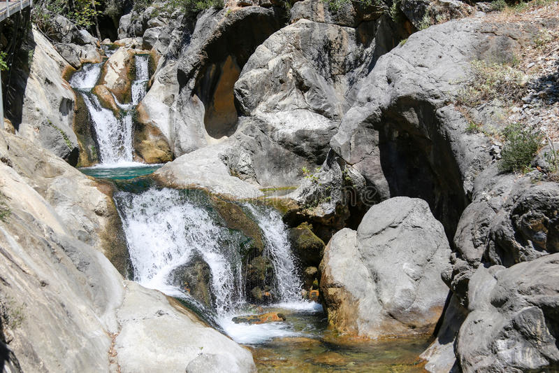 Waterfall in mountain canyon. Sapadere in Taurus Mountains in Turkey Alanya stock image