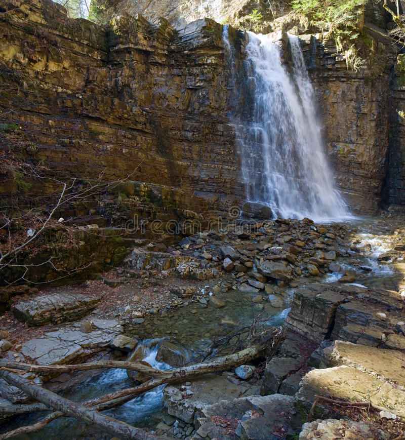 Waterfall on mountain forest royalty free stock images