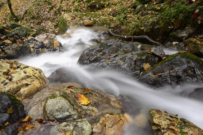Waterfall at mountain river on stones flowing to down part stock photo