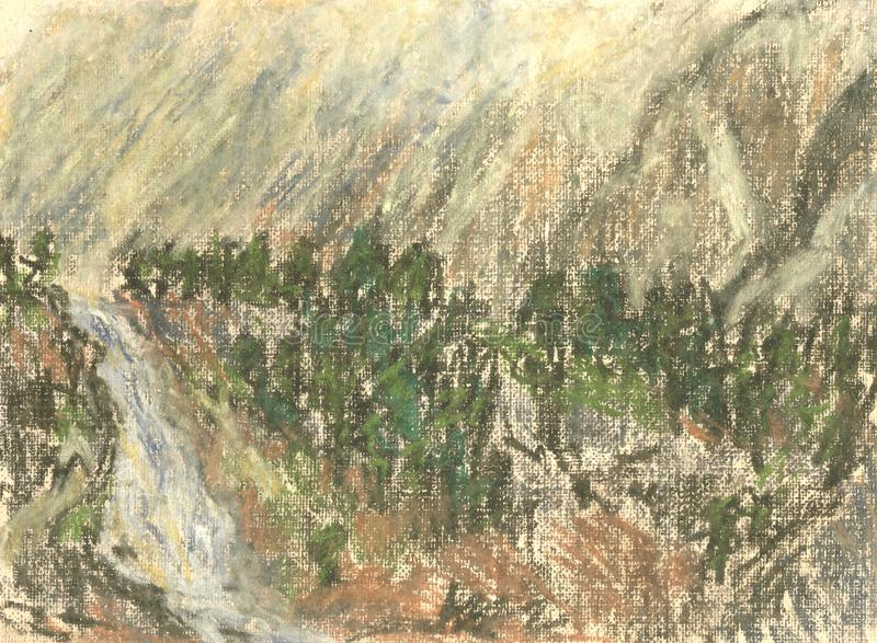 Waterfall in the mountains, mountain landscape pastel drawing stock illustration
