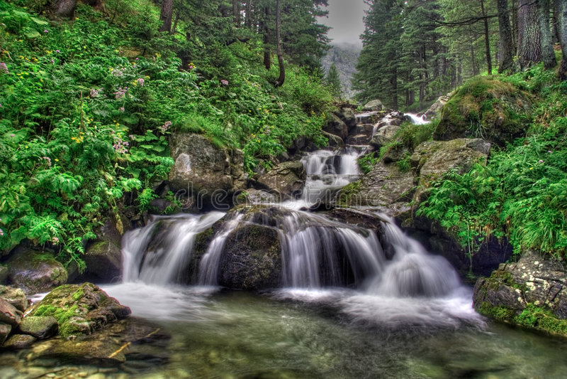 Waterfall in national park Rila royalty free stock photos