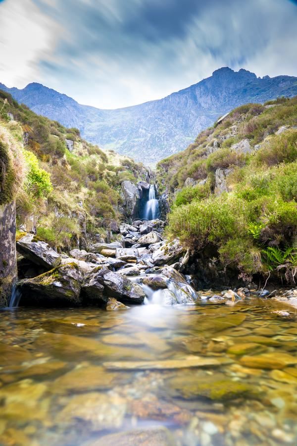 Waterfall near Llyn Idwal stock image