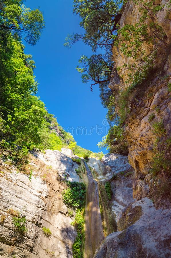 Waterfall near town Nydri on Lefkada royalty free stock photo