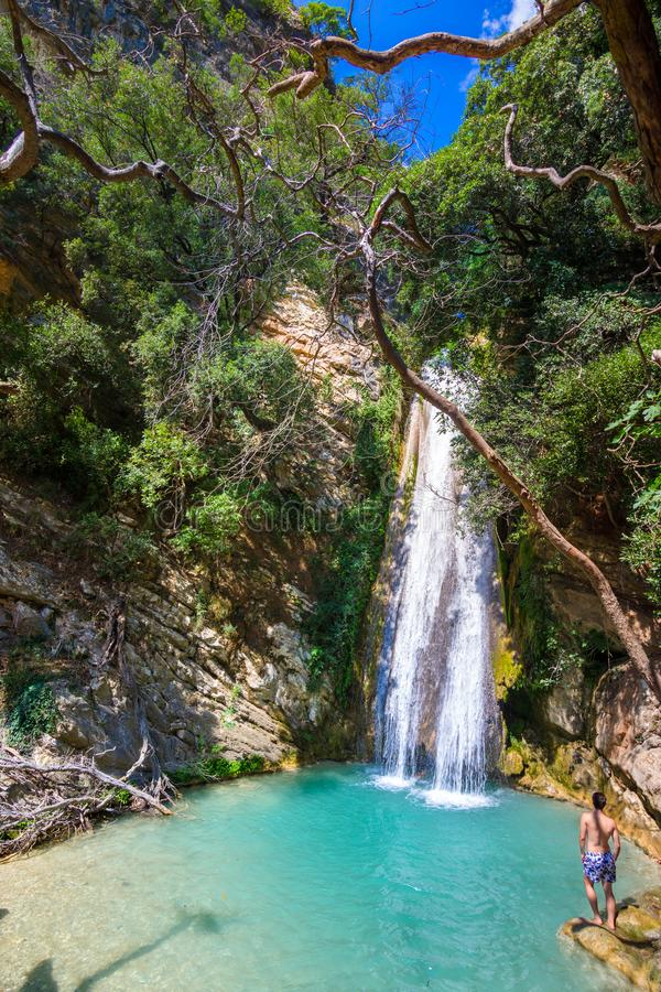 Waterfall in the Neda. The Neda is a river in the western Peloponnese in Greece. Neda is the only river in Greece with a feminine name. It flows into the Gulf stock photos