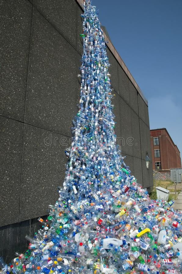 Waterfall. NETHERLANDS - AUGUST 2012: Huge plastic waterfall named Waterfall 2012 made from plastic bottles, aim is to draw attention to the problem of litter in