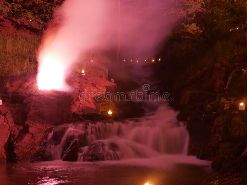 Waterfall by night. Waterfall night long longexposure fire stock photography