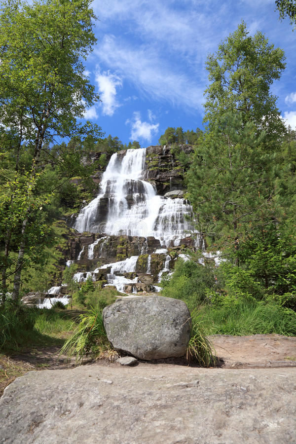Waterfall In Norway. Stock Photo