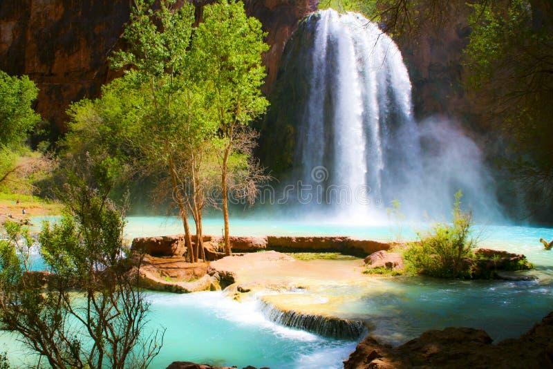 Waterfall into Oasis stock image