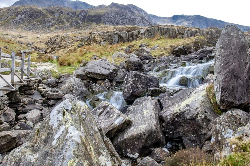 The waterfall and in Ogwen Glen - Wales - UK stock photos