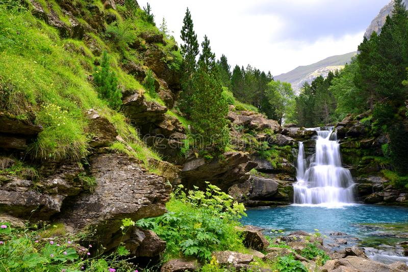 Waterfall in Ordesa and Monte Perdido National Park. Pyrenees mountain.Spain. Waterfall in Ordesa and Monte Perdido National Park. Pyrenees mountain. Province royalty free stock photo