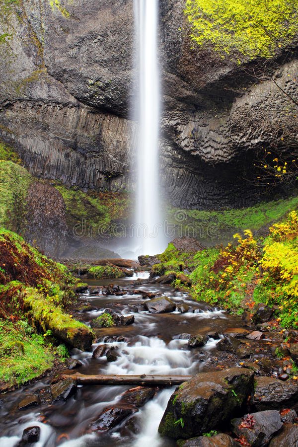 Waterfall in Oregon Autumn stock photo